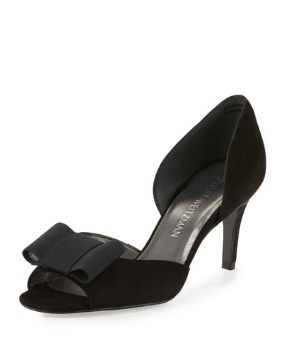 Boatelle Bow Suede Pump, Black