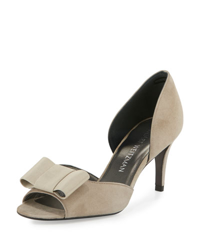 Boatelle Bow Suede Pump, Fossil Gray