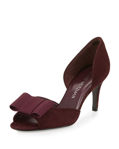 Boatelle Bow Suede Pump, Vino Bordeaux