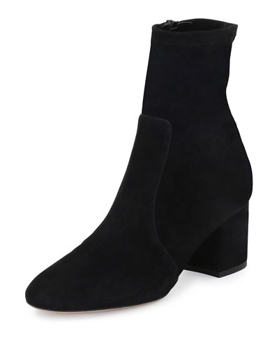 Stretch Suede 60mm Bootie, Black