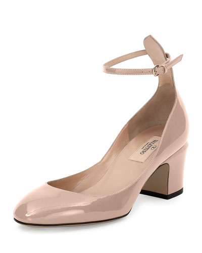 Tango Patent Ankle-Wrap Pump, Nude