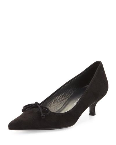 Lopanache Suede Kitten-Heel Pump, Black