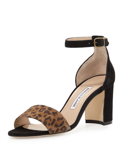 Lauratomod Suede Ankle-Wrap Sandal, Leopardino/Black