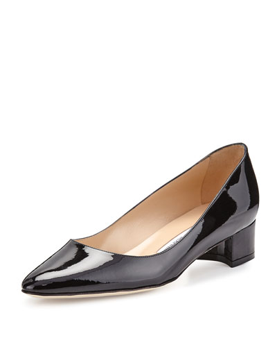 Low Heel Patent Leather Pump | Neiman Marcus