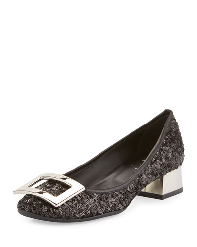 Belle de Nuit Sequined Buckle Pump, Black