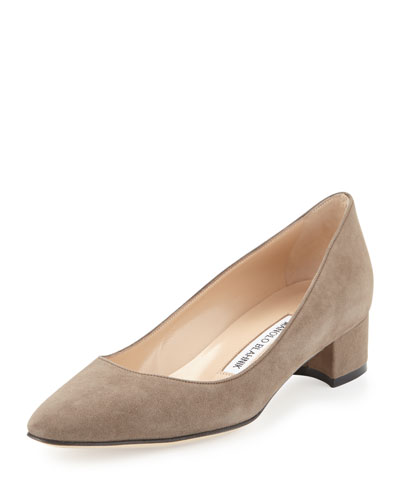 Listony Suede Low-Heel Pump, Taupe