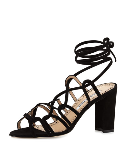 Jena Suede Lace-Up Sandal, Black