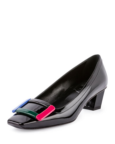 Belle Vivier Patent Pump, Black/Multi