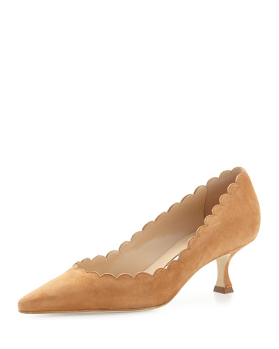 Srilasca Scalloped Suede Pump, Camel