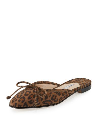 Suede Bow Ballerina Mule Flat, Leopard