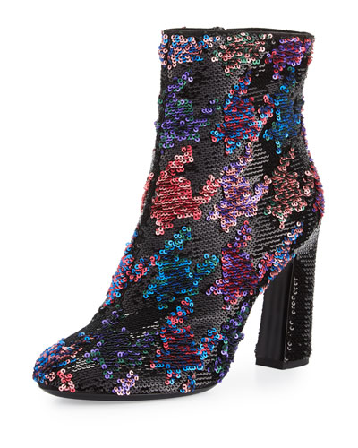 Sequined Chunky-Heel Booties, Multicolor