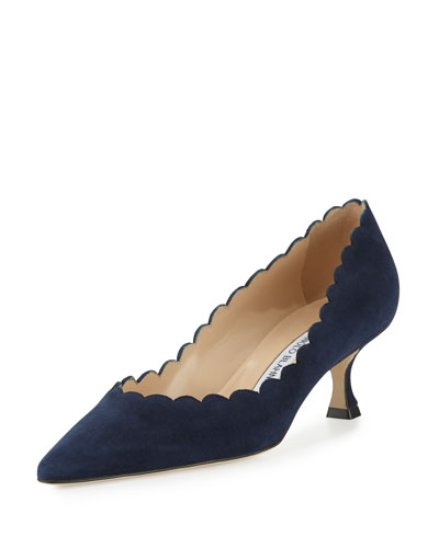 Srilasca Scalloped Suede Pump, Navy