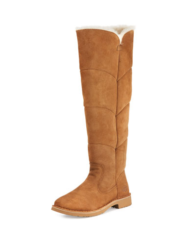 Sibley Shearling Over-the-Knee Boot, Chestnut