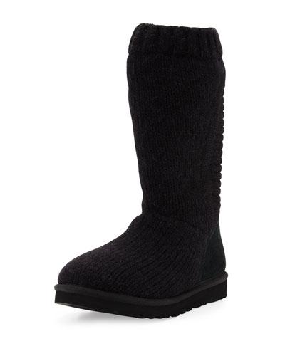 Capra Tall Knit Boot, Black