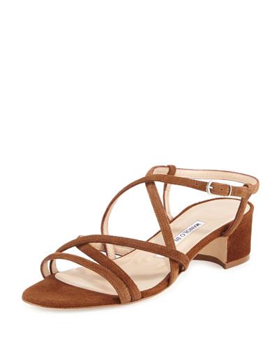 Atrita Strappy Suede Sandal, Medium Brown
