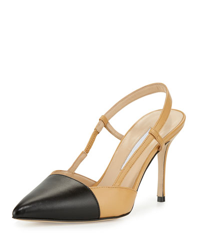Evocity Two-Tone Pointed-Toe Pump, Black/Beige