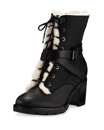 Ingrid Shearling Fur Combat Boot, Black