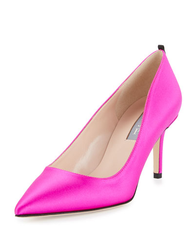 Fawn Satin Pointed-Toe 70mm Pump, Fuchsia