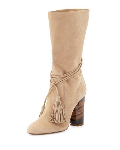 Winningham Suede Tassel Boot, Light Nude