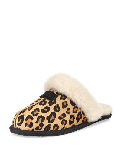Scuffette II Calf-Hair Slipper, Chestnut Leopard