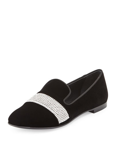 Dalila Crystal-Band Velvet Smoking Slipper, Nero