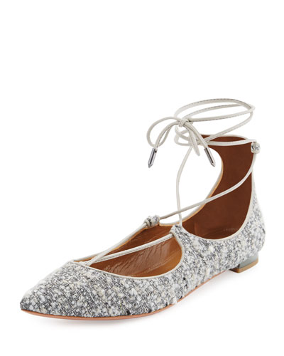 Christy Tweed Lace-Up Pointed-Toe Flat, Light Gray