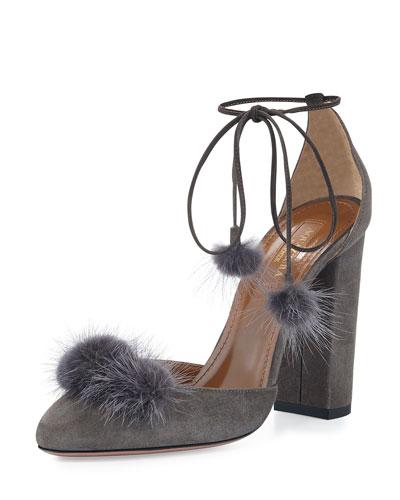 Wild Russian Mink Fur Pump, Urban Gray
