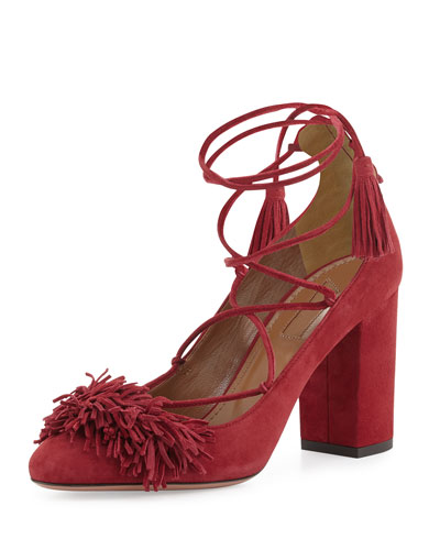 Wild Thing Fringe Block-Heel Pump, Pomegranate