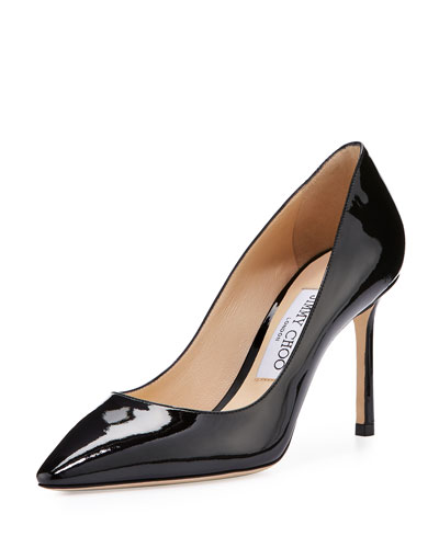 Romy Patent Pointed-Toe 85mm Pump, Black