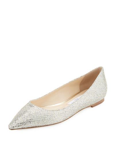 Romy Glitter-Fabric Ballerina Flat, Champagne