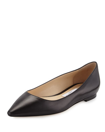 Romy Leather Ballerina Flat, Black