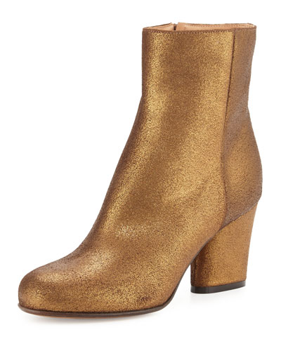 Metallic Suede 70mm Ankle Boot, Bronze