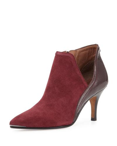Talia Pointed-Toe Ankle Boot, Merlot