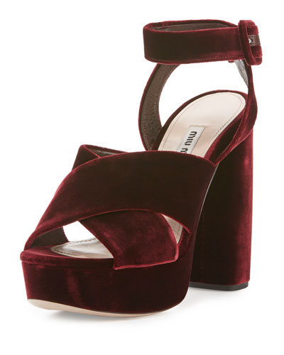 Velvet Crisscross 125mm Sandal, Bordeaux