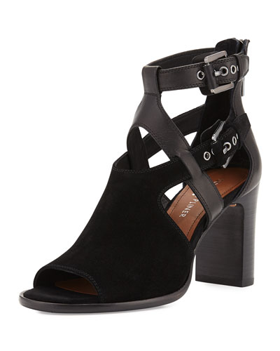 Ronnie Suede & Leather Buckle Sandal, Black