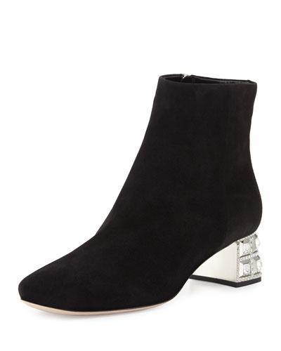 Suede Jewel-Heel Ankle Boot, Nero
