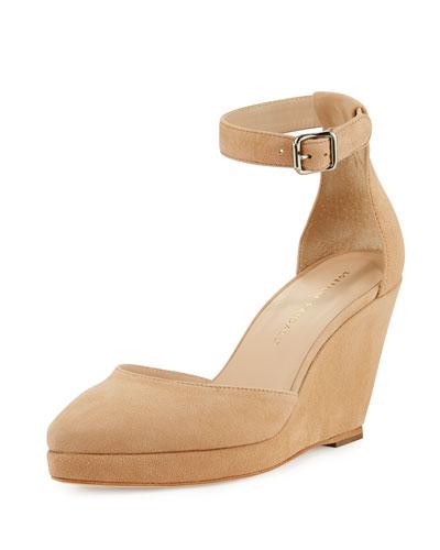 Jules Suede Low-Wedge Sandal, Nude