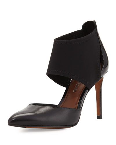 Karis Stretch/Leather Pointed-Toe Pump, Black