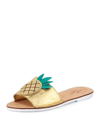ibis pineapple slide sandal, gold