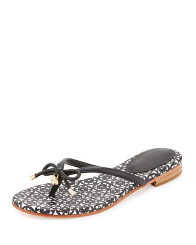 mistic bow flat thong sandal, black
