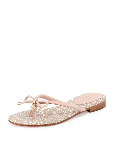 mistic bow flat thong sandal, pale pink