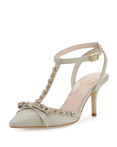 julianna t-strap bow pump, pale taupe