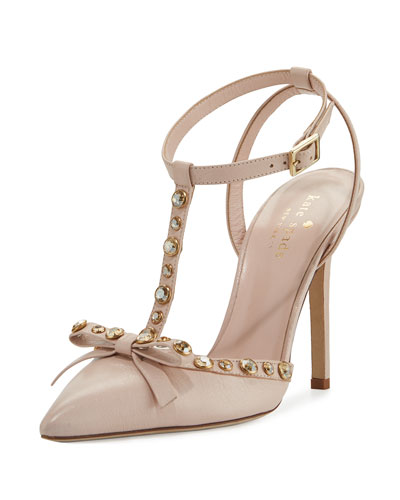 lydia studded leather pump, petal pink
