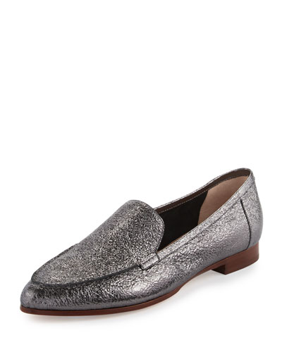carmia pointed-toe leather loafer, anthracite