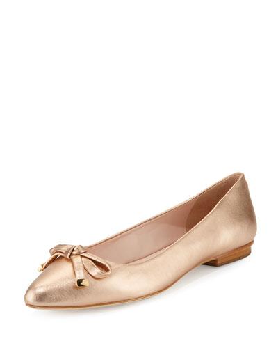 emma leather bow ballerina flat, rose gold