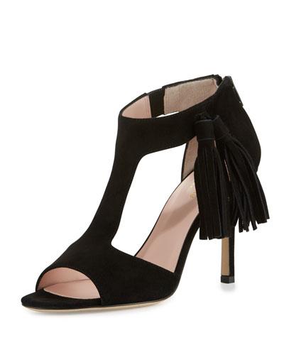 inga suede t-strap sandal, black
