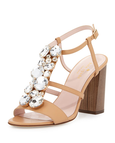 isabell jeweled 90mm sandal, natural