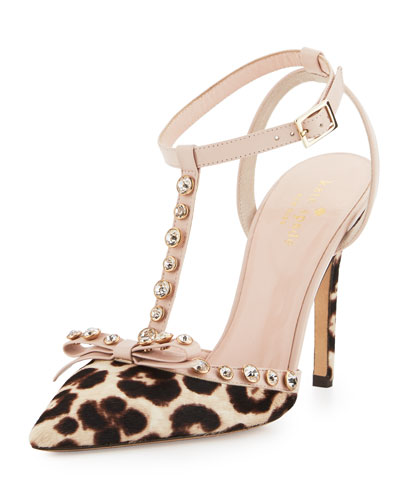 lydia studded calf-hair pump, blush/brown leopard