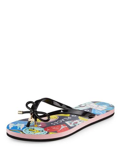 nova passport flat bow thong sandal, black