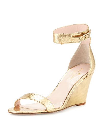 ronia naked wedge sandal, gold metallic python